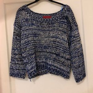 Black/Blue/White Cropped Sweater